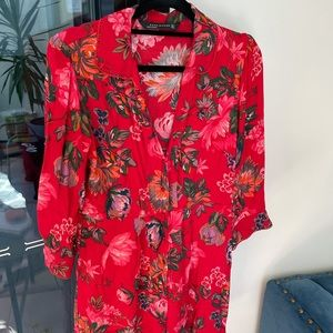 Cutest Zara Red Floral Dress - Size S
